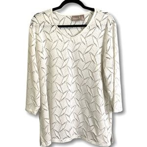 CHICO'S WHITE OPEN LACE 3/4 SLEEVE TOP US SZ XL/16